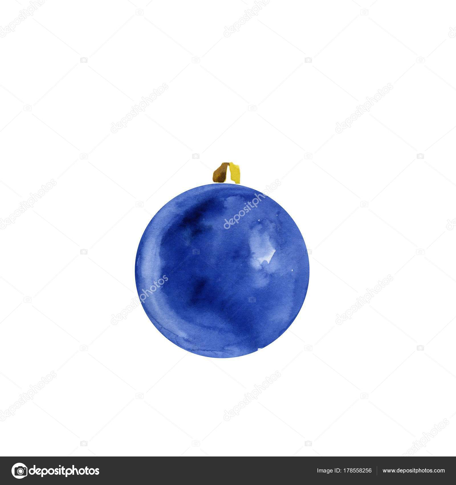 christmas decorations on christmas tree of watercolor stains blots watercolor dark blue christmas ball