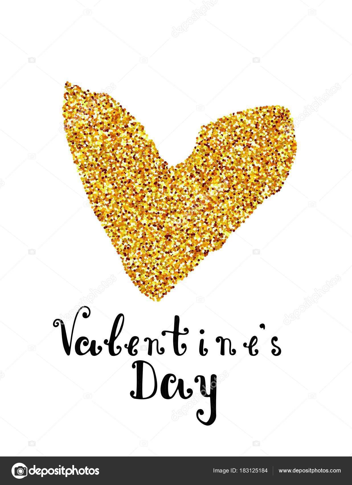 Handgemachte Schrift drucken Valentinstag. Vektor-Illustration ...