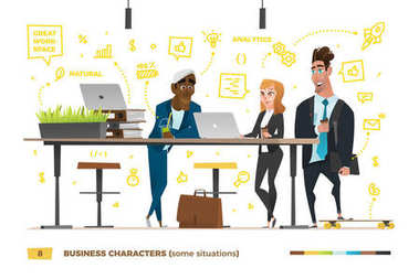 Business characters in the working environment