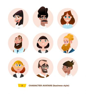 Characters avatars in cartoon style