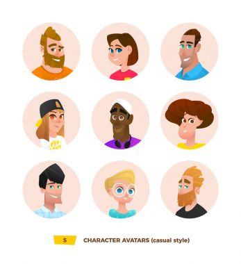 Characters avatars in cartoon style