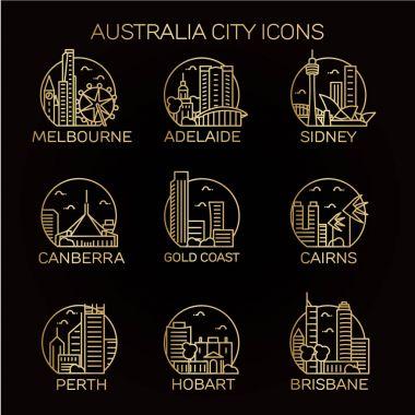 Australia cities icons set