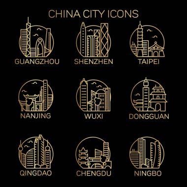 China cities icons set