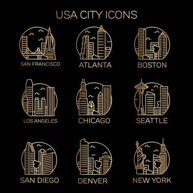 USA city icons