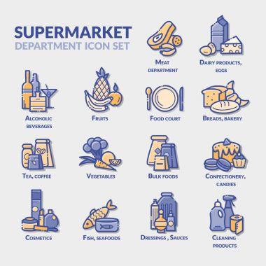 Supermarket department icon set