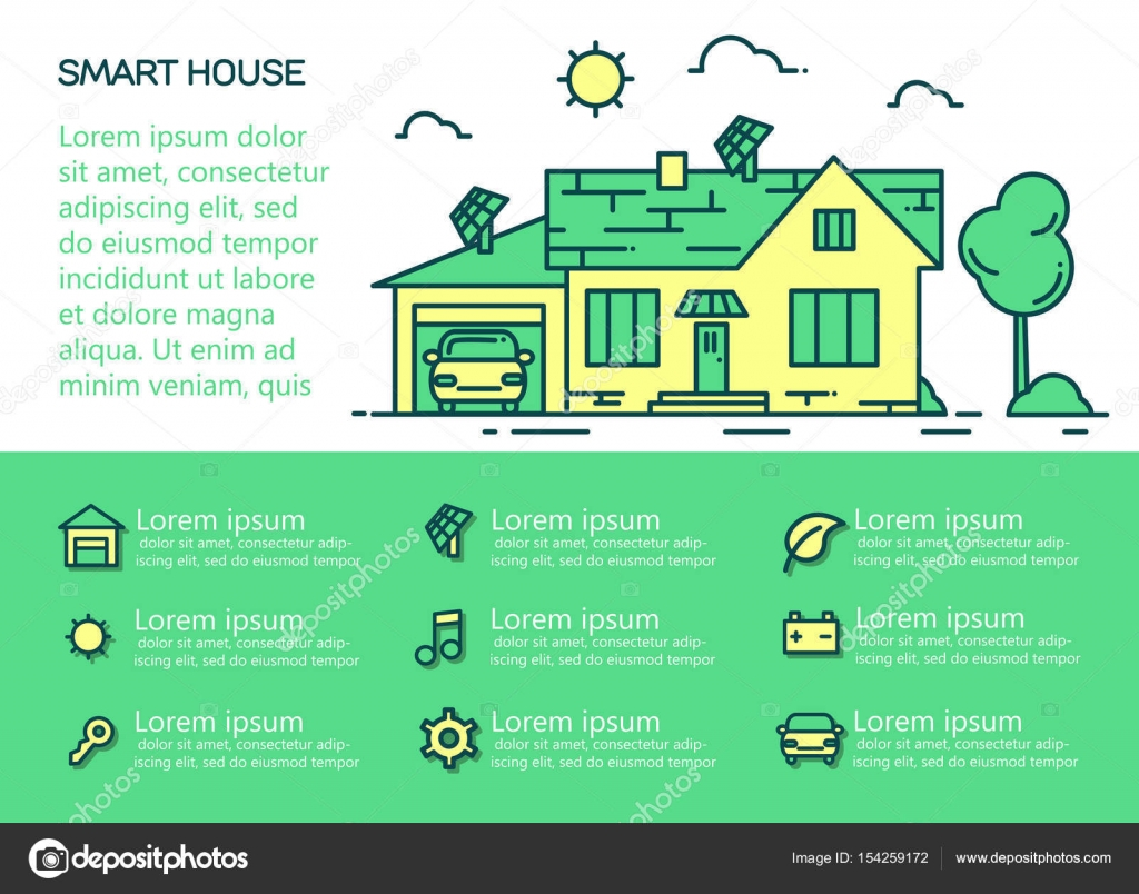 Modernes Konzept des intelligenten Hauses — Stockvektor ...