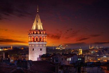 Galata tower with illumination