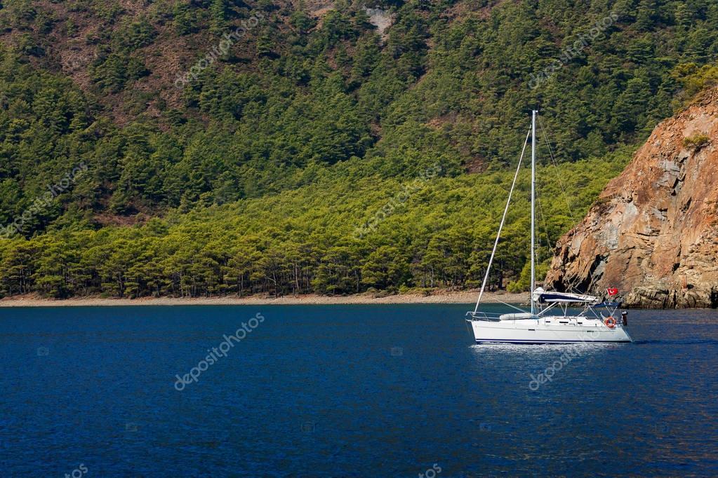 Yatch on calm sea water
