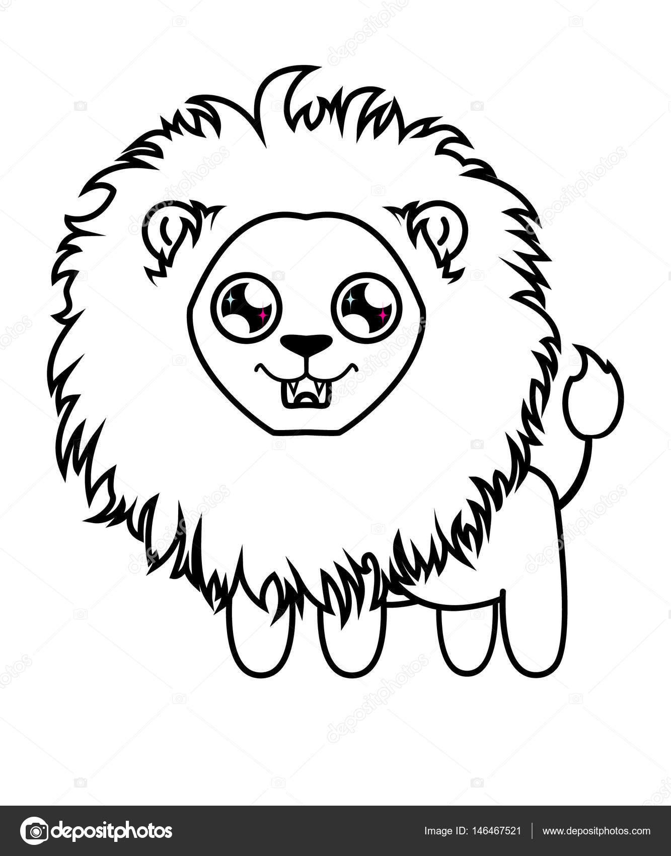 Estimado León pequeño. Cachorro de León para colorear — Vector de ...