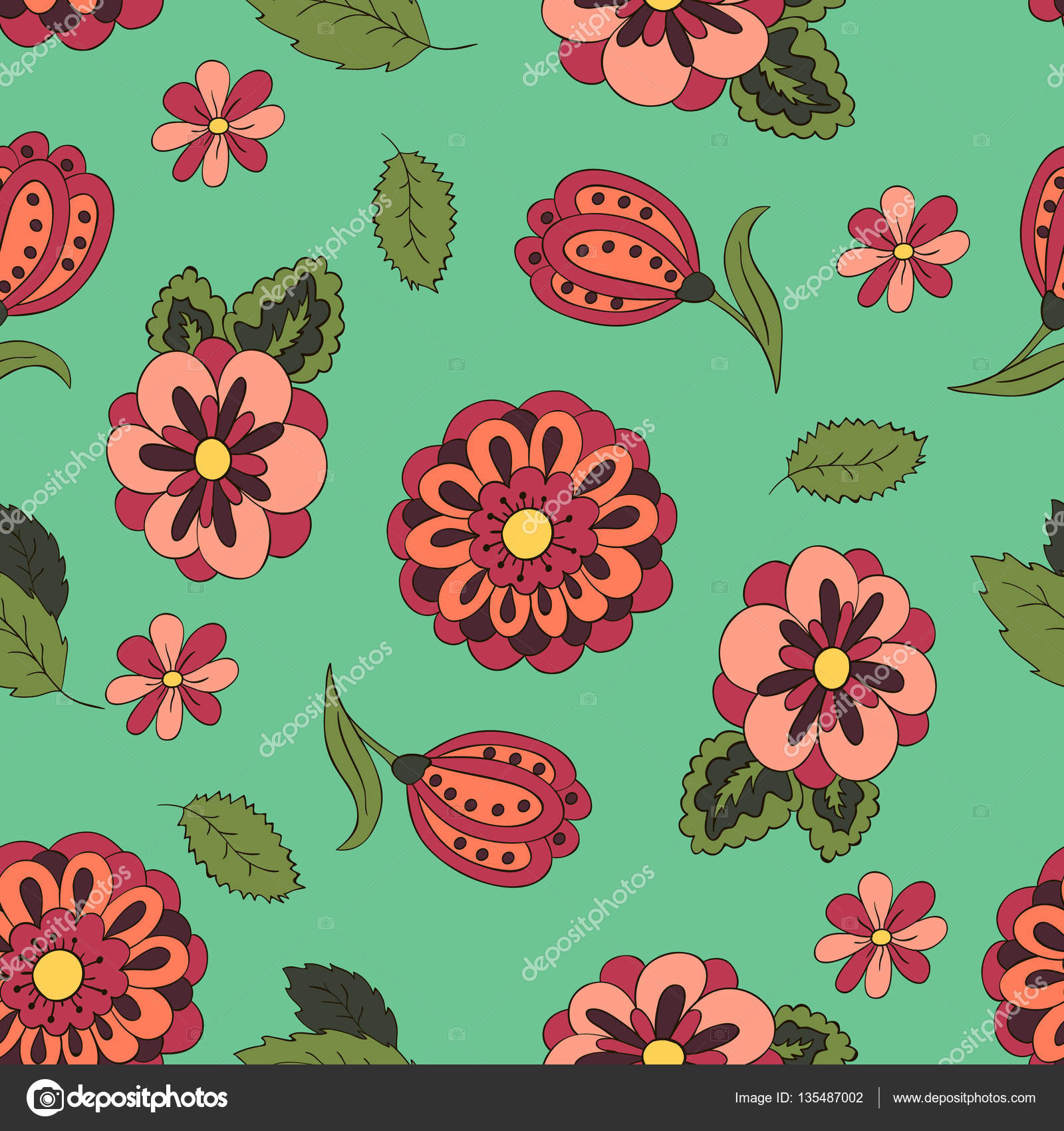 Seamless pattern with spring flowers stock vector bubushonok seamless pattern with spring flowers cover background red and green vector by bubushonok mightylinksfo