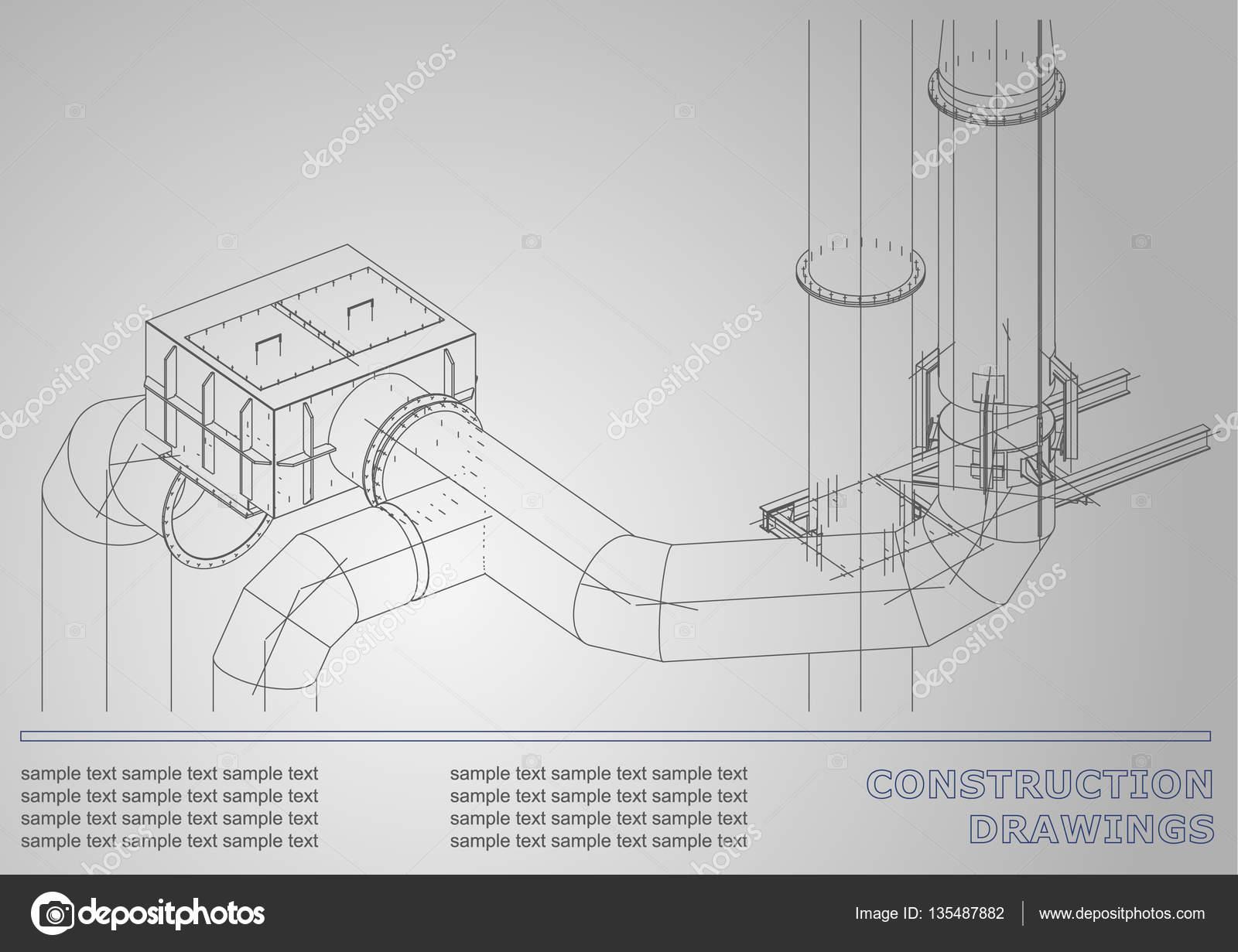 Mechanical engineering drawing — Stock Vector © Bubushonok