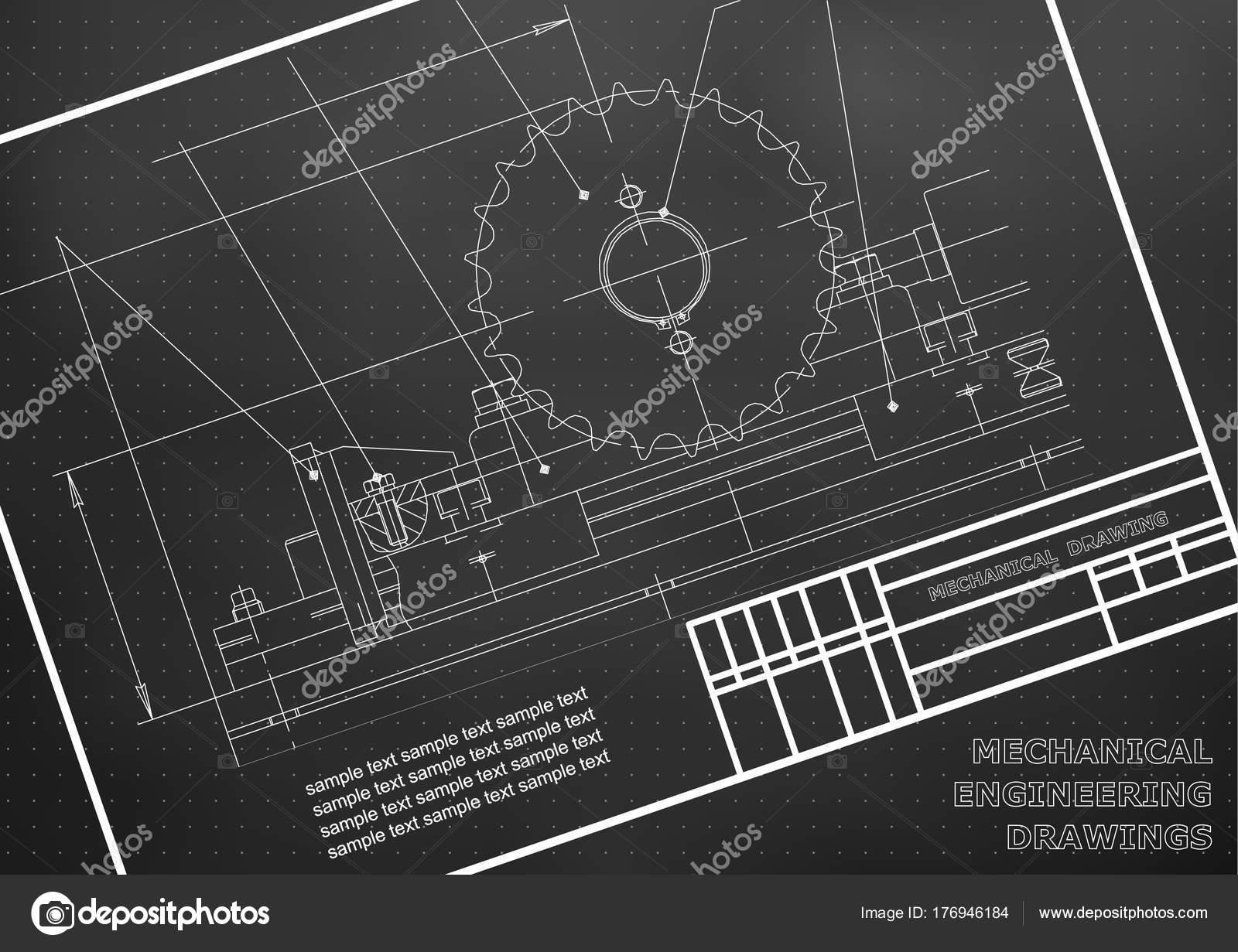 Disegni Meccanici Sfondo Bianco Illustrazione Ingegneria Telaio Nero