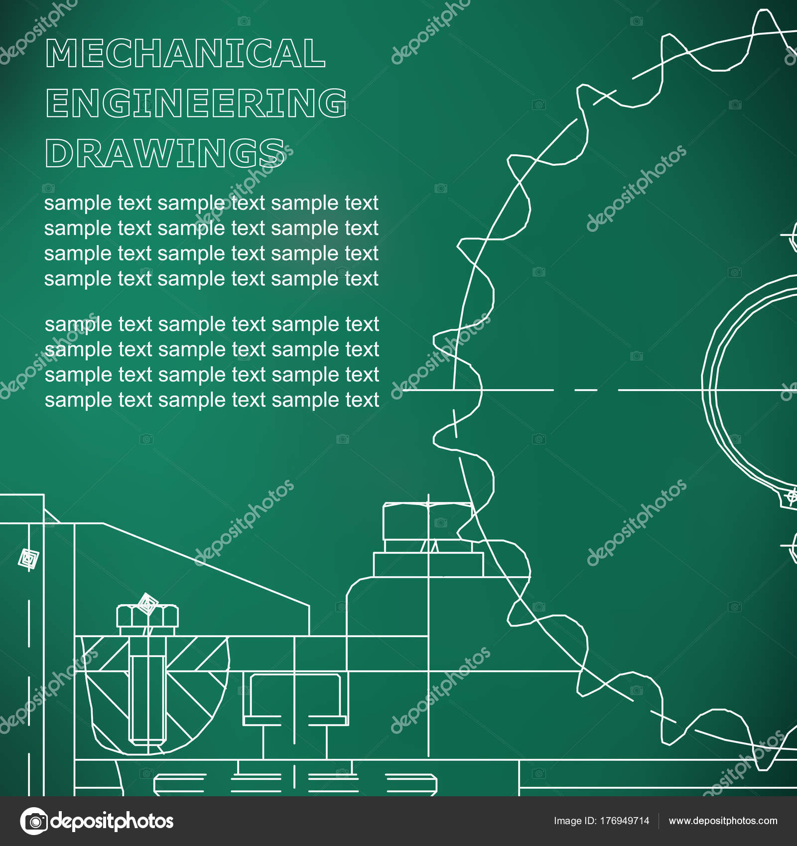 Maschinenbau Zeichnen Vektor Hellgrün — Stockvektor © Bubushonok ...