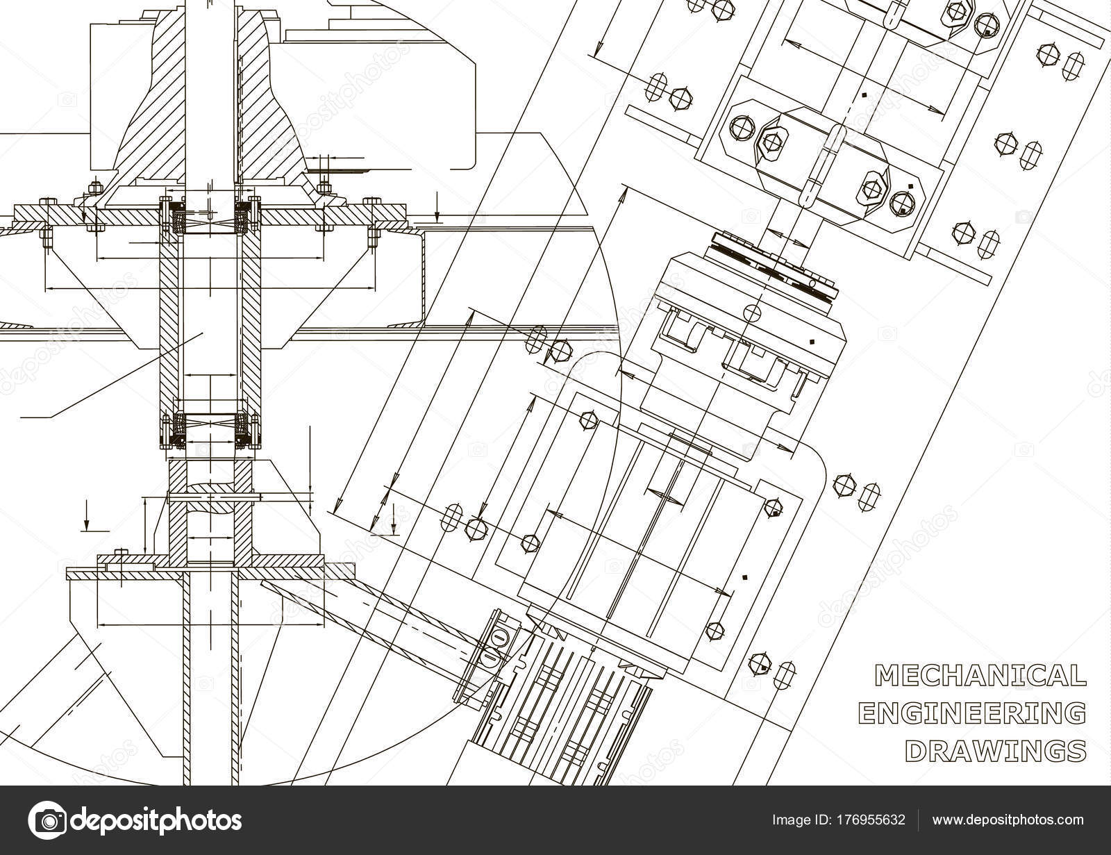Maschinenbau Zeichnungen Technisches Design Blaupausen Weiß ...