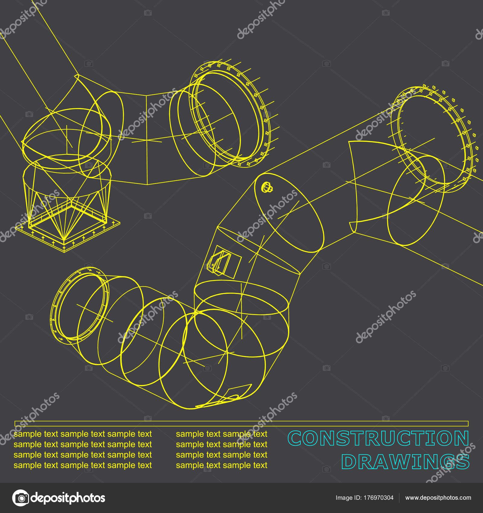 Dibujos estructuras acero tubos tuberas blueprint estructuras acero dibujos estructuras acero tubos tuberas blueprint estructuras acero fondo para vector de stock malvernweather Gallery
