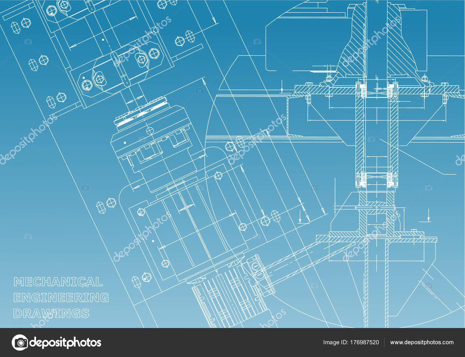Blaupausen Maschinenbau Zeichnungen Technisches Design Decken Banner ...