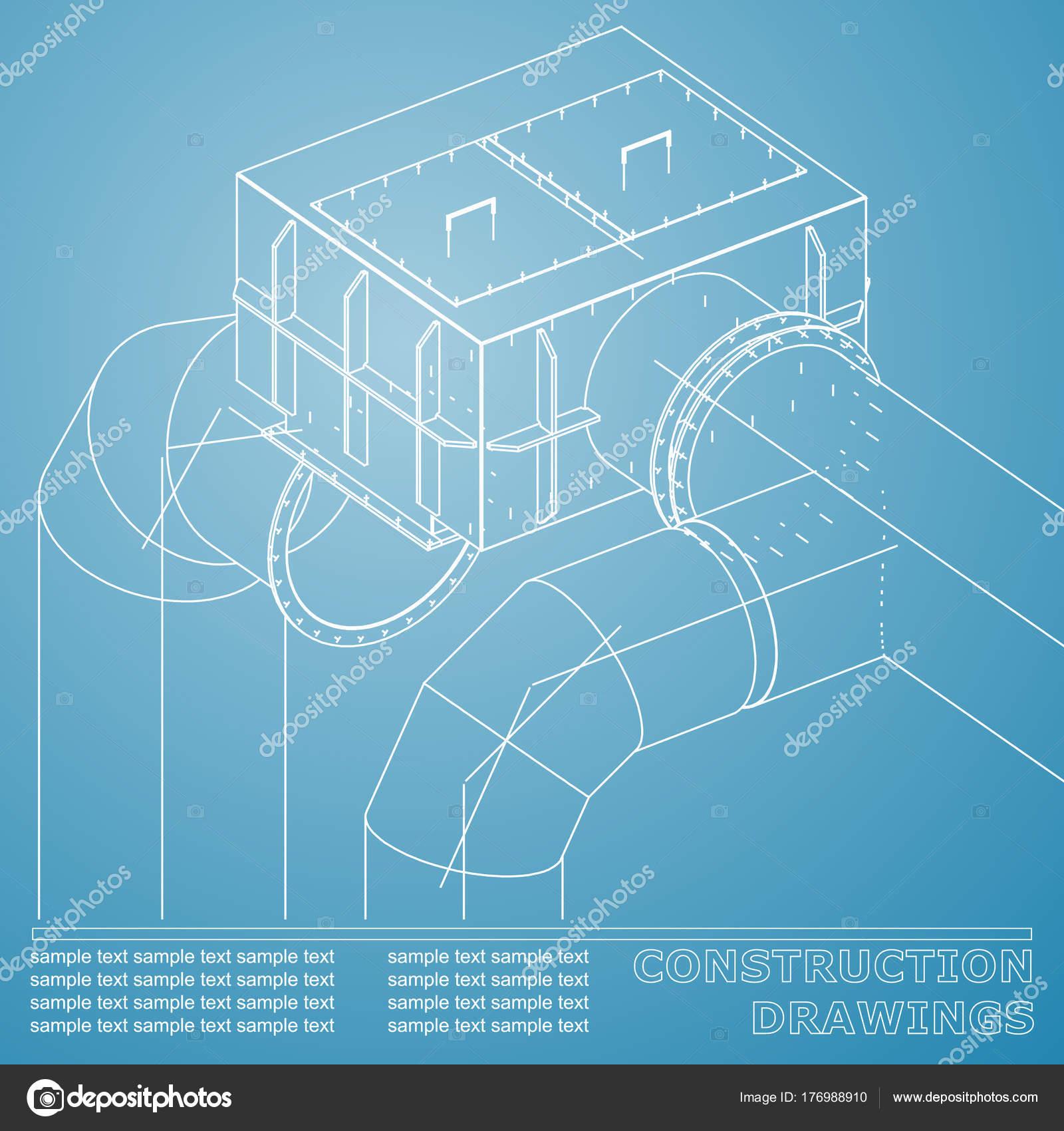 Dibujos estructuras acero tubos tuberas blueprint estructuras acero dibujos estructuras acero tubos tuberas blueprint estructuras acero azul blanco vector de stock malvernweather Choice Image