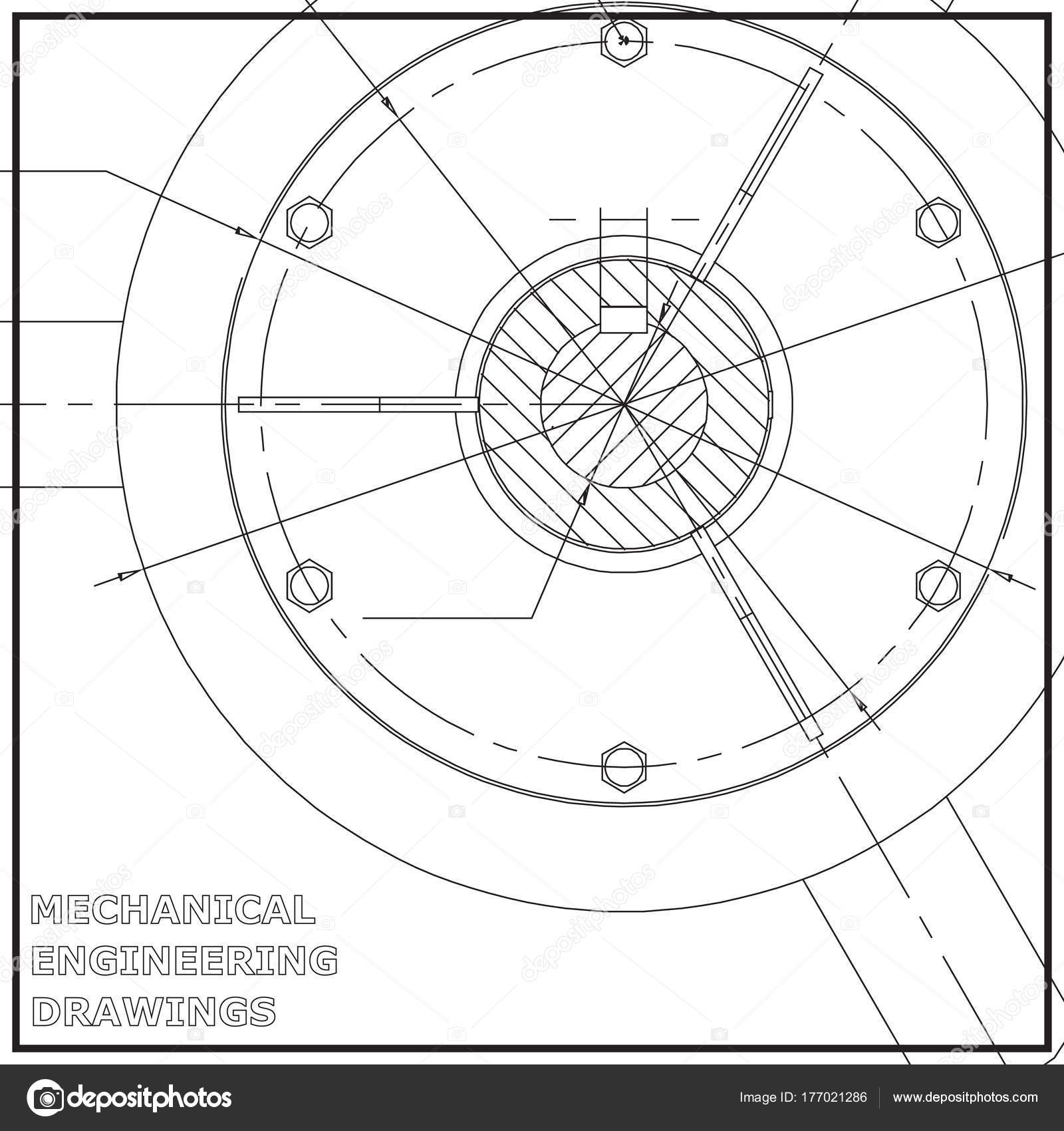 Mechanical Engineering Drawings Engineering Illustration White ...
