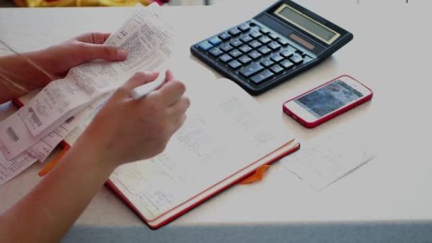 Udržovat dokumentaci a faktury, do účetnictví s blkonote, šeky, Kalkulačka a telefon, čísla záznamů. 4k