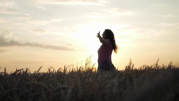 das Mädchen steht in einem Weizenfeld und genießt den vergehenden Tag in den Strahlen des Sonnenuntergangs. hd, 1920x1080. Zeitlupe.