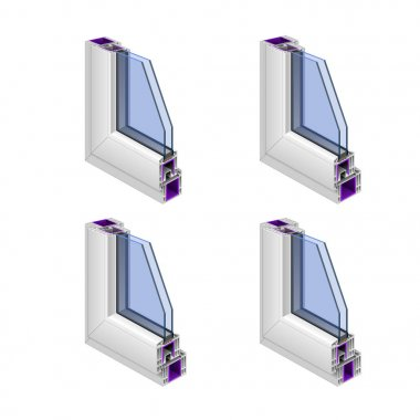 Vector objects, plastic box. PVC. Four icons. Three-chamber profile, four-chamber profile, five-chamber profile, six-dimensional profile, double-glazed windows.