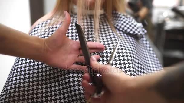 Friseur schneidet Frauen Haarspitzen, Friseur macht Haarschnitt, Frau kommt in Schönheitssalon, Mode und Stil für Damen