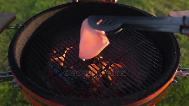 Kalamáry jsou grilování na žhavé uhlí na grilu v létě, mořské plody Grilovaná jídla, pečené ryby, asijskou kuchyni, vaření venku, gril párty, rodinné večeři v přírodě