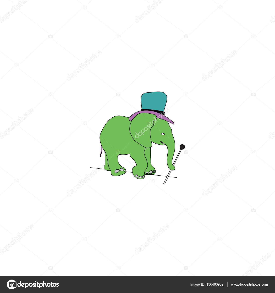 Zirkus Elefanten mit Stock und Hut gehen auf Draht — Stockvektor ...