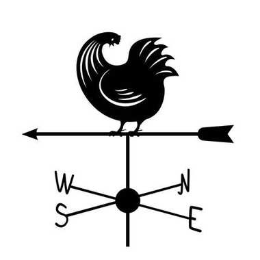 Weathervane - Black running rooster3.