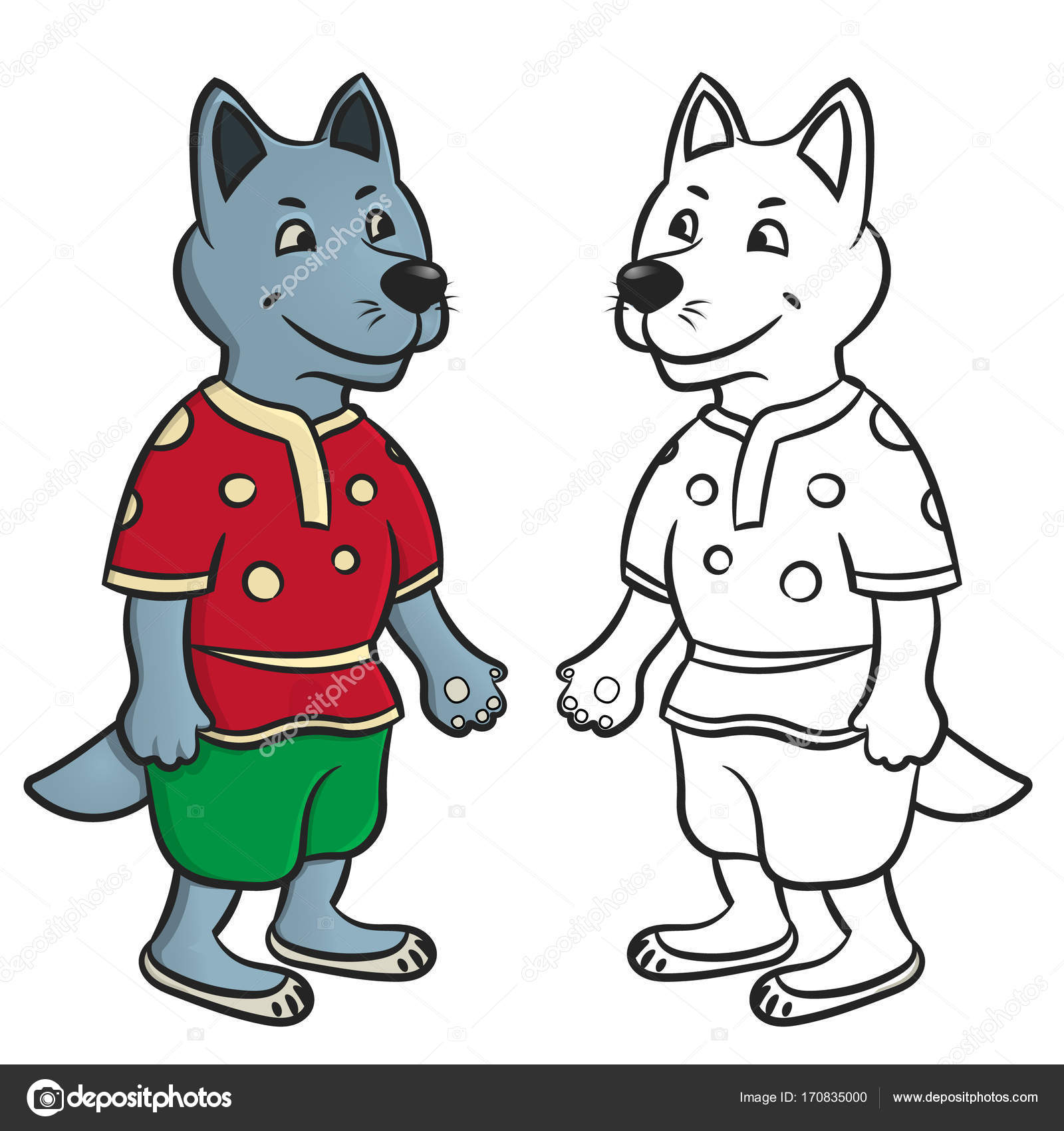 Wolf coloring pages — Stock Vector © danilina.olga.gmail.com #170835000