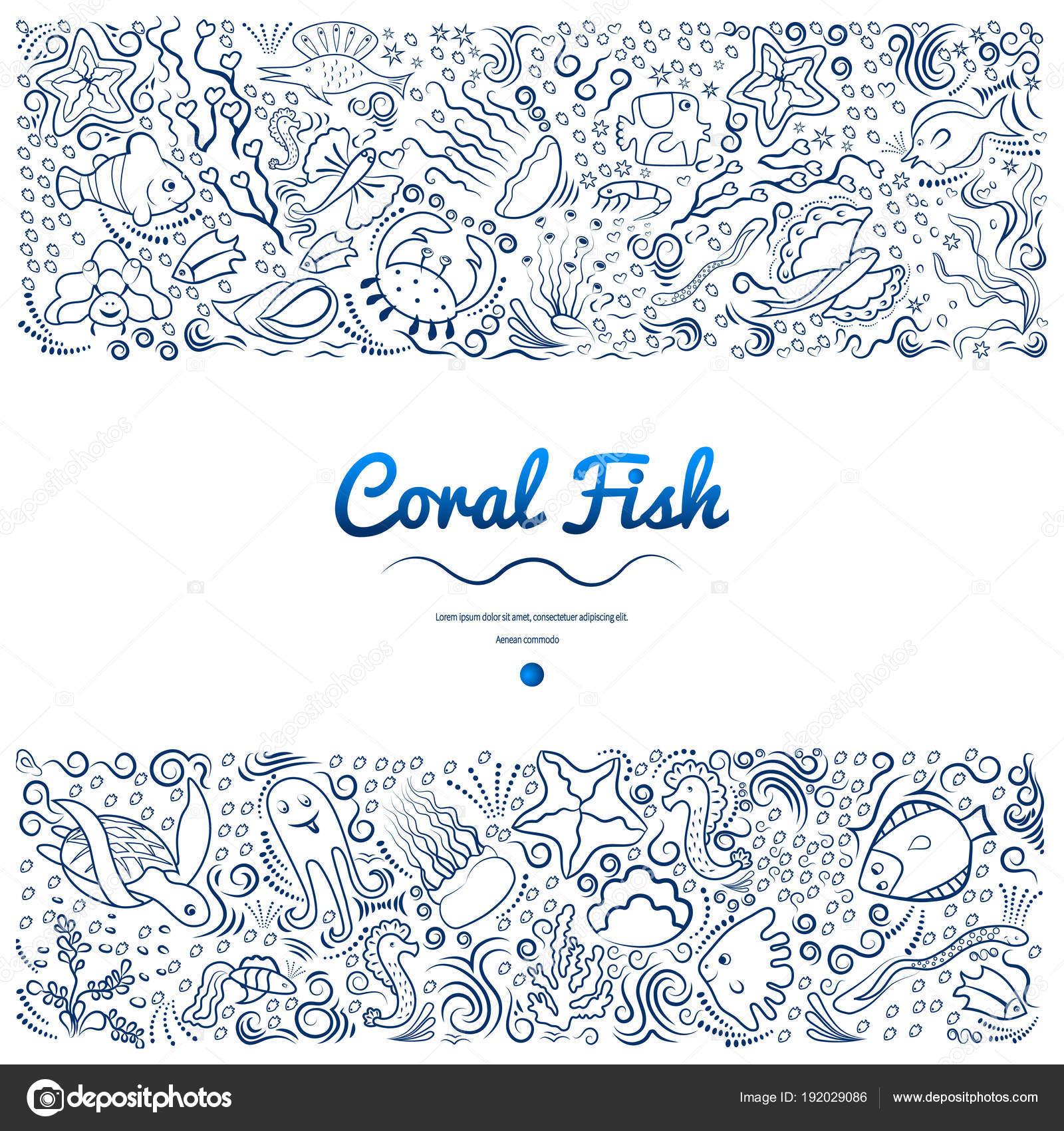 Marcos con peces coral-01 — Vector de stock © danilina.olga.gmail ...