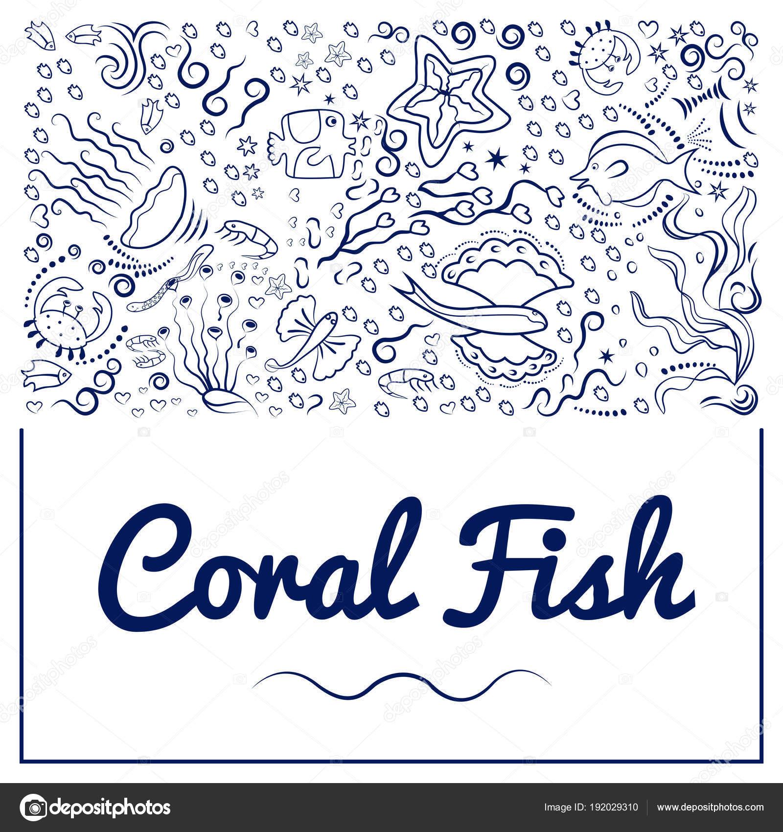 Marcos con peces coral-10 — Vector de stock © danilina.olga.gmail ...