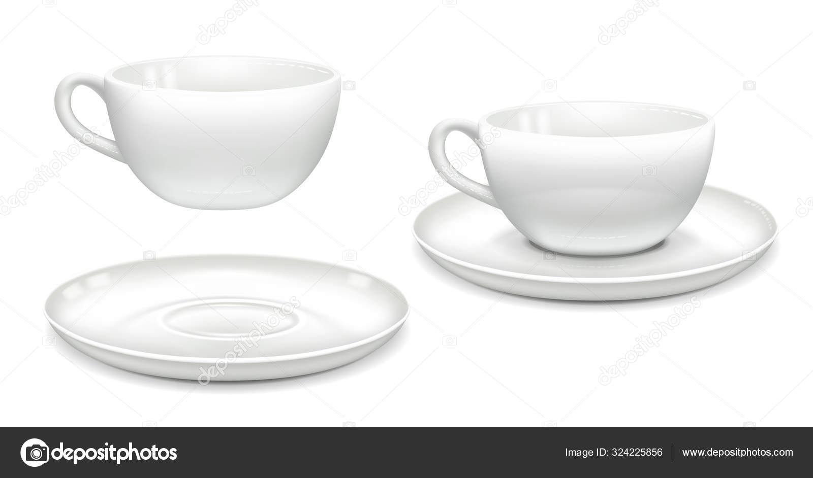 White Coffee Cup Saucer Together Separately Side View Mockup Advertising Stock Vector C Danilina Olga Gmail Com 324225856