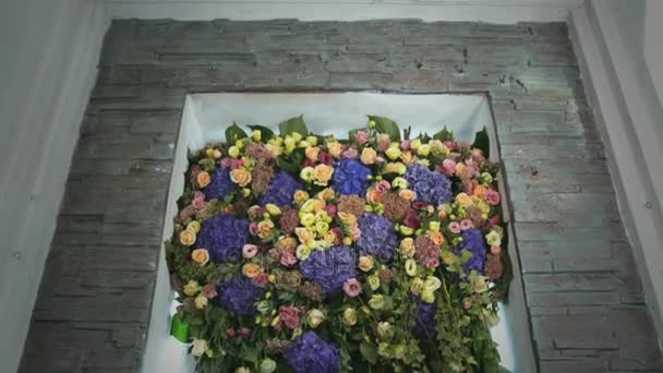 Composition with Different Flowers. Inside Window Interior Wedding Decoration