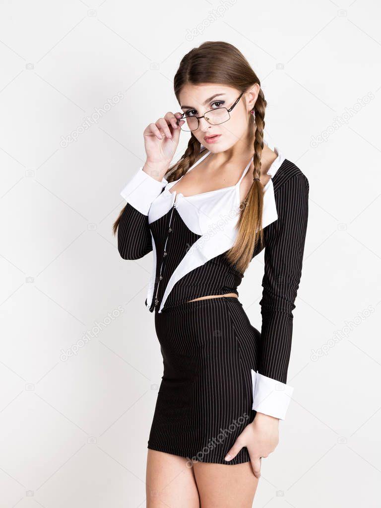 sexy Sekretärin, Porträt von schöne Brünette Business-Dame