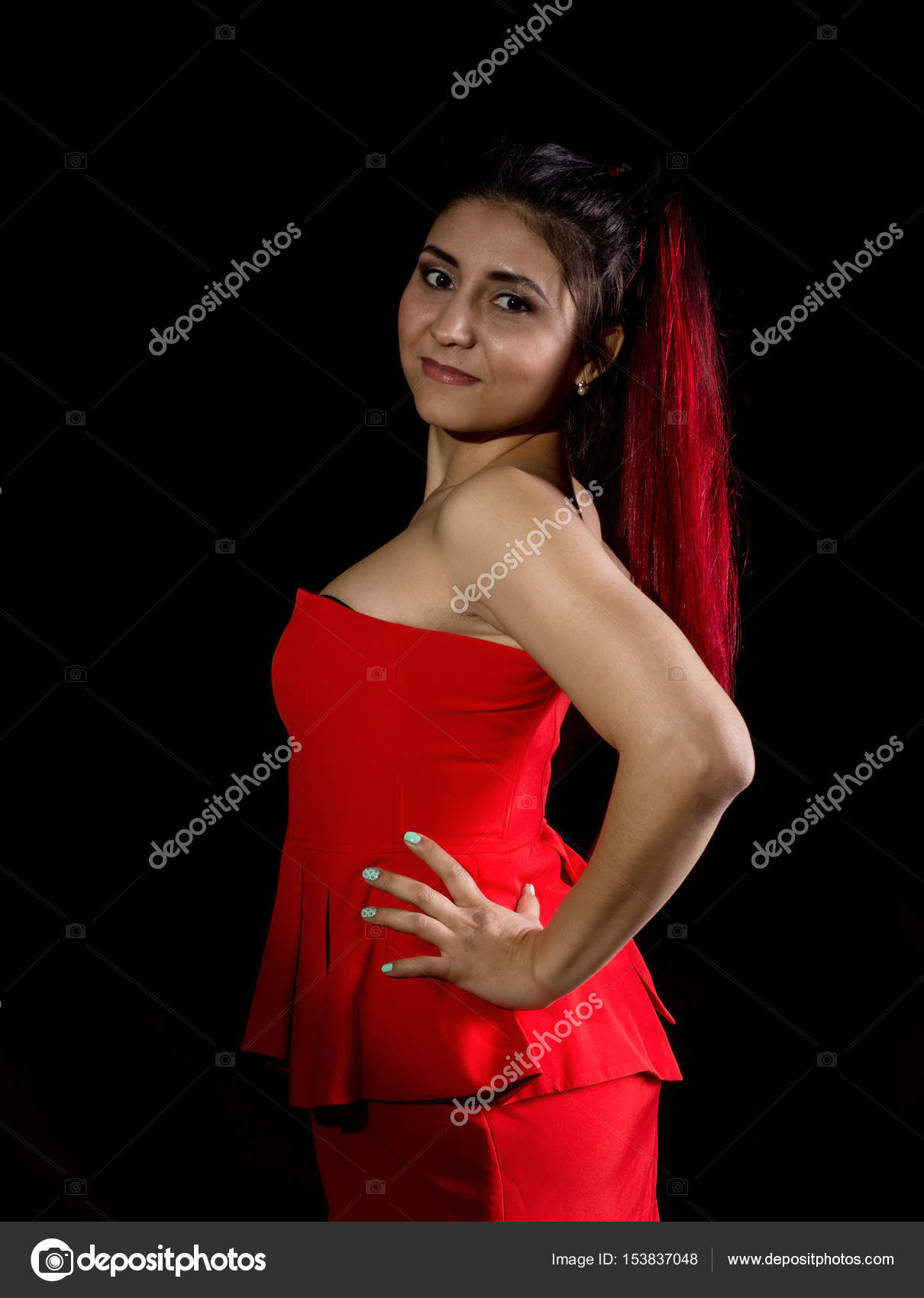 Pretty Young Sexy Asian Model With Red Hair In Amazing Red Dress On