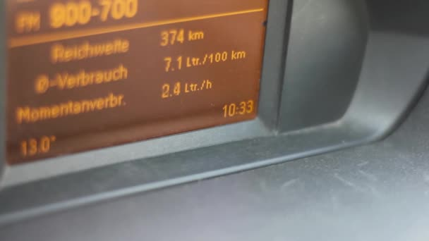 Dashboard with fuel consumption. cars dashboard indicating a fuel consumption.