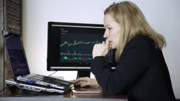 smutný ženské obchodník sleduje měna Výměna graf a naštvaný. selhání při obchodních transakcích na burze