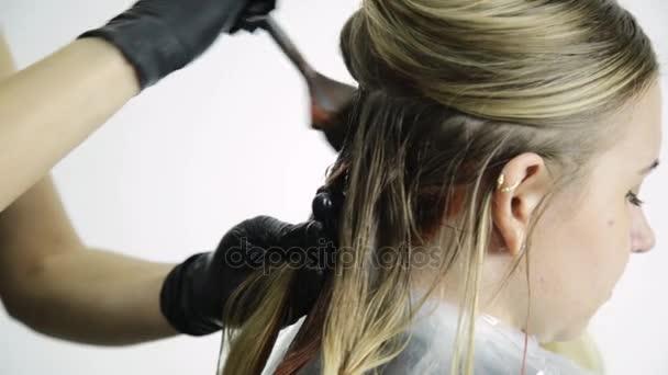 Güzellik Salonu Kadında Saç Boyama Alır Stok Video Sandy Che