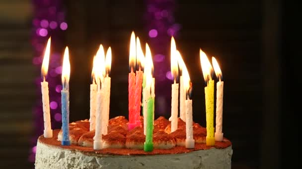 Happy Emotional Woman Blowing Out The Candles On A Birthday Cake Extinguished Stock Footage