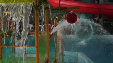 streams of water flowing in the pool in aquapark. children amusement park. slow