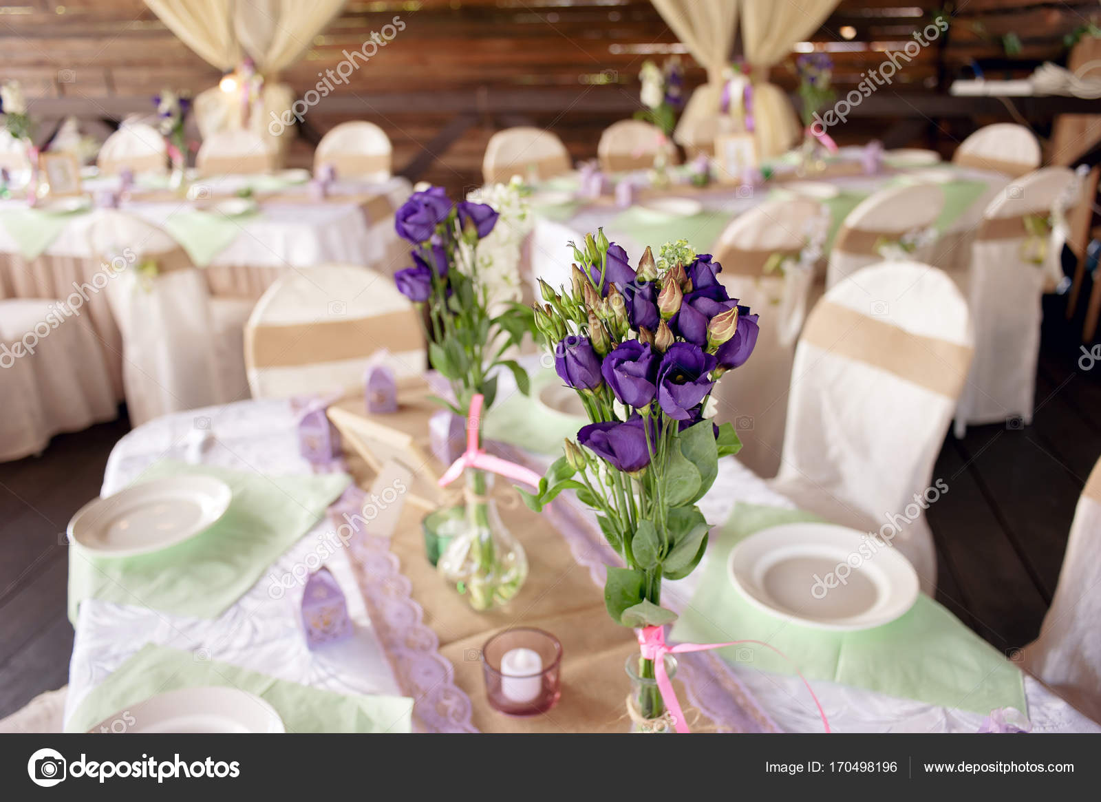 Beautifully Decorated Table For The Wedding Ceremony Served Banquet - Banquet table setup ideas
