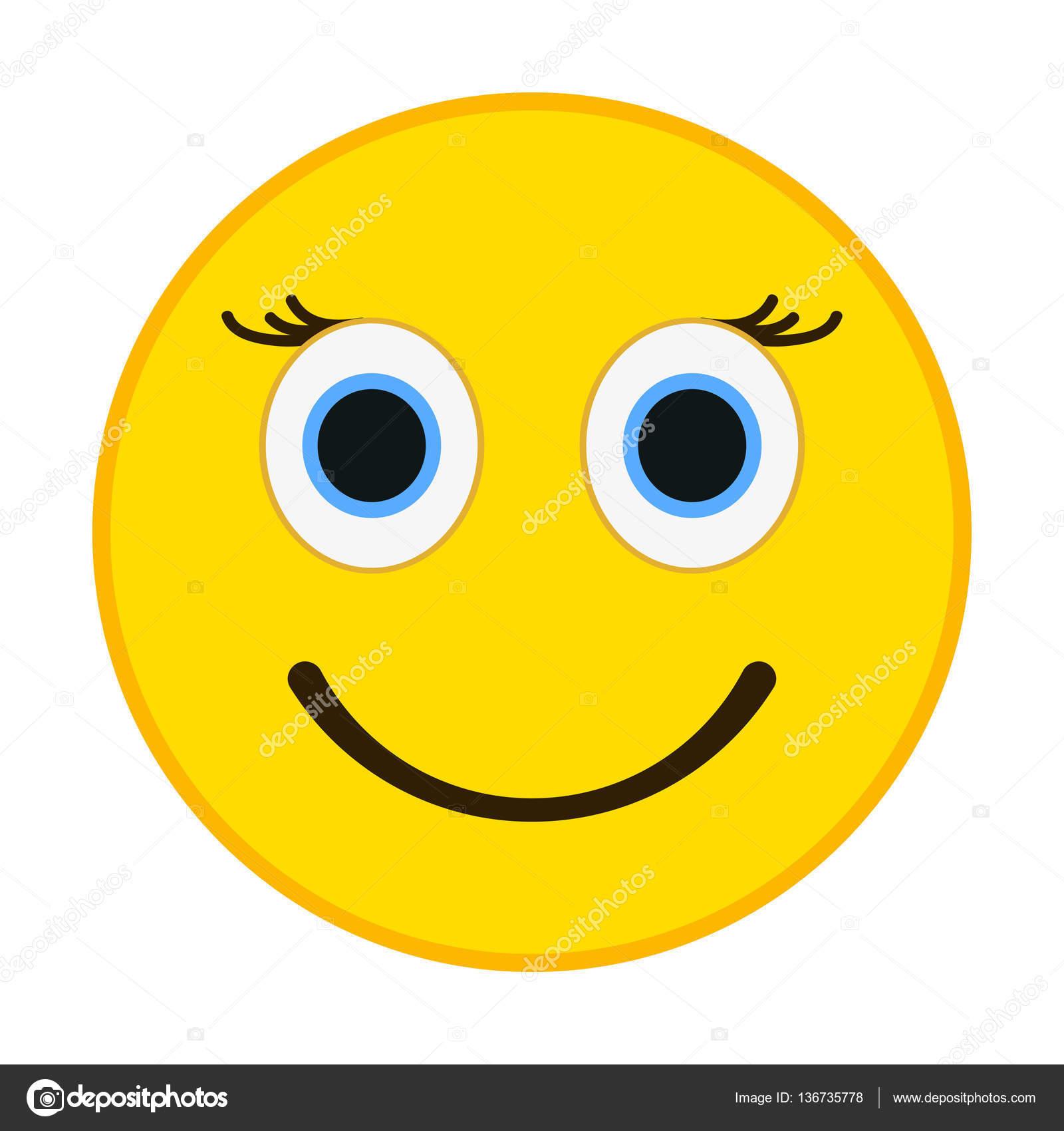 smiling emoticon with happy eyes female emoji vector