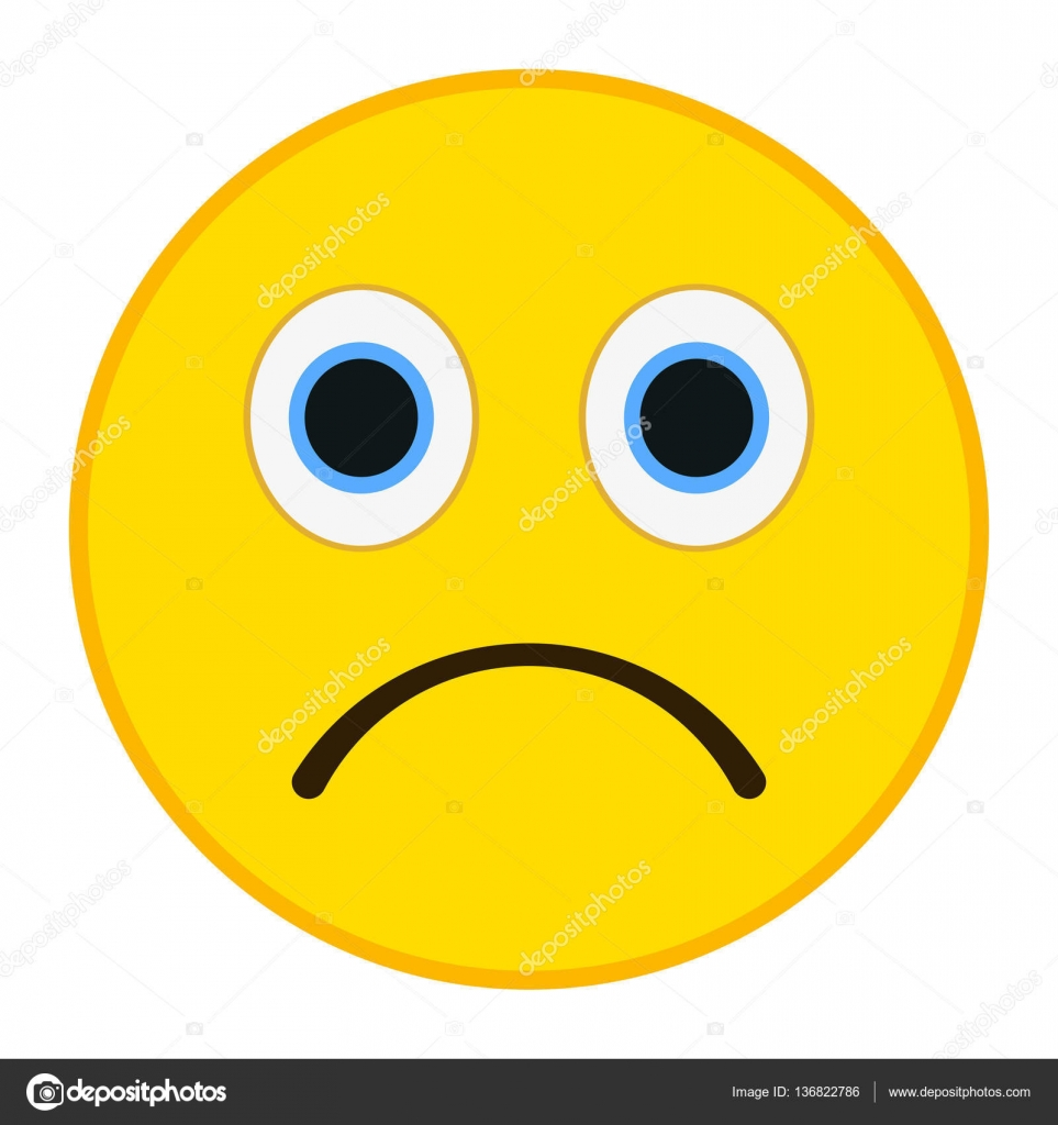 Trauriges Emoticon im trendigen flachen Stil. Traurige