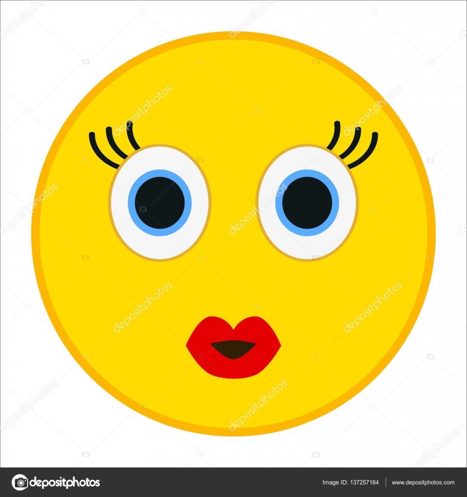 Kuss Emoticon mit glücklichen Augen in trendigen flachen