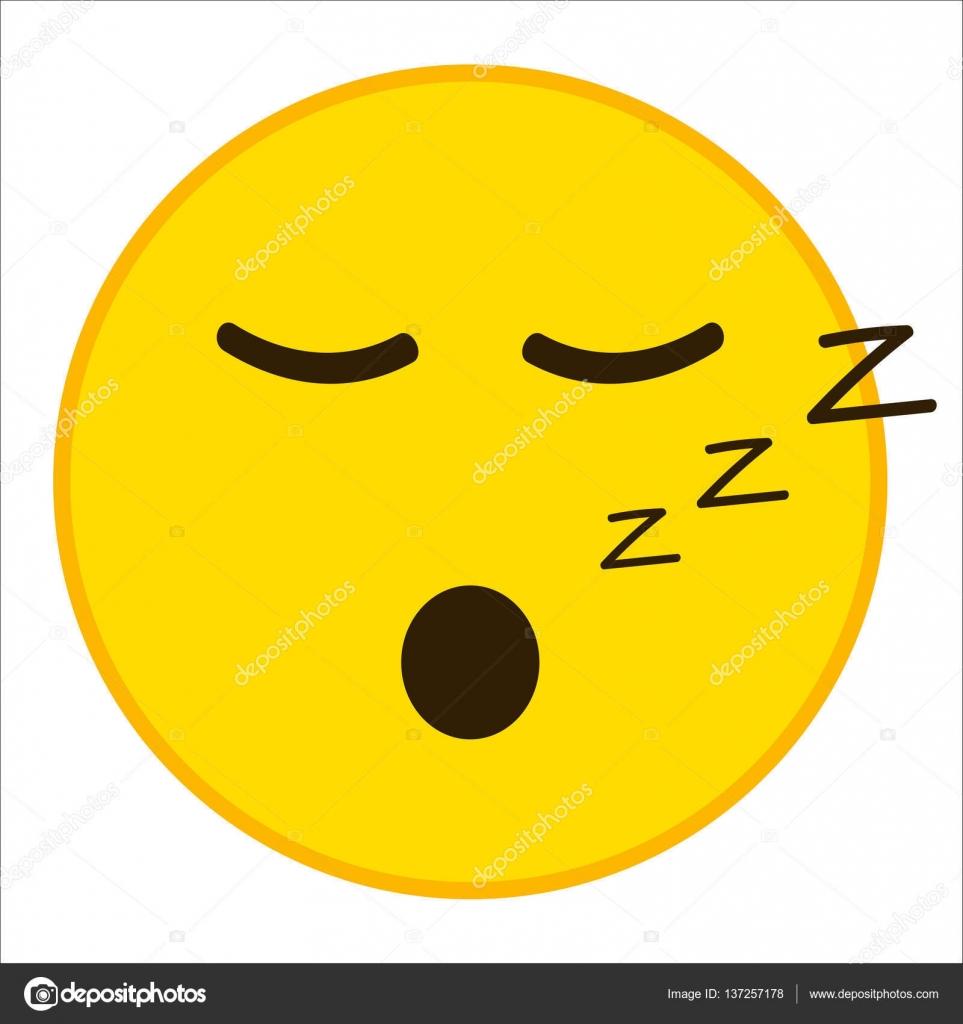 Sleepy emoticon with closed eyes in trendy flat style  Sleep