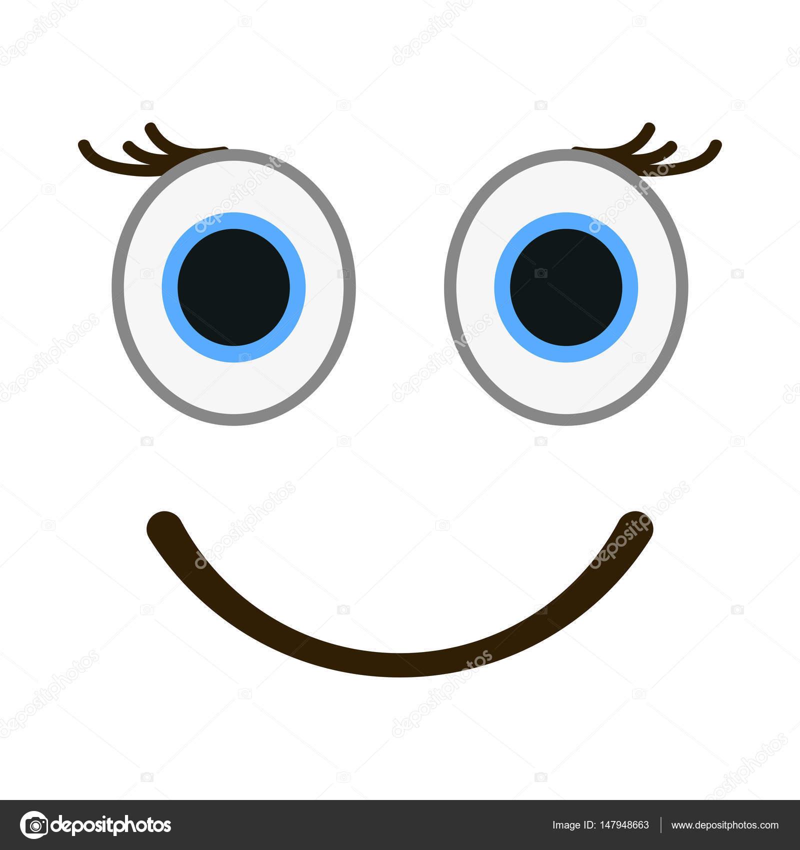 Smiling emoticon with happy eyes. Female emoji vector ...