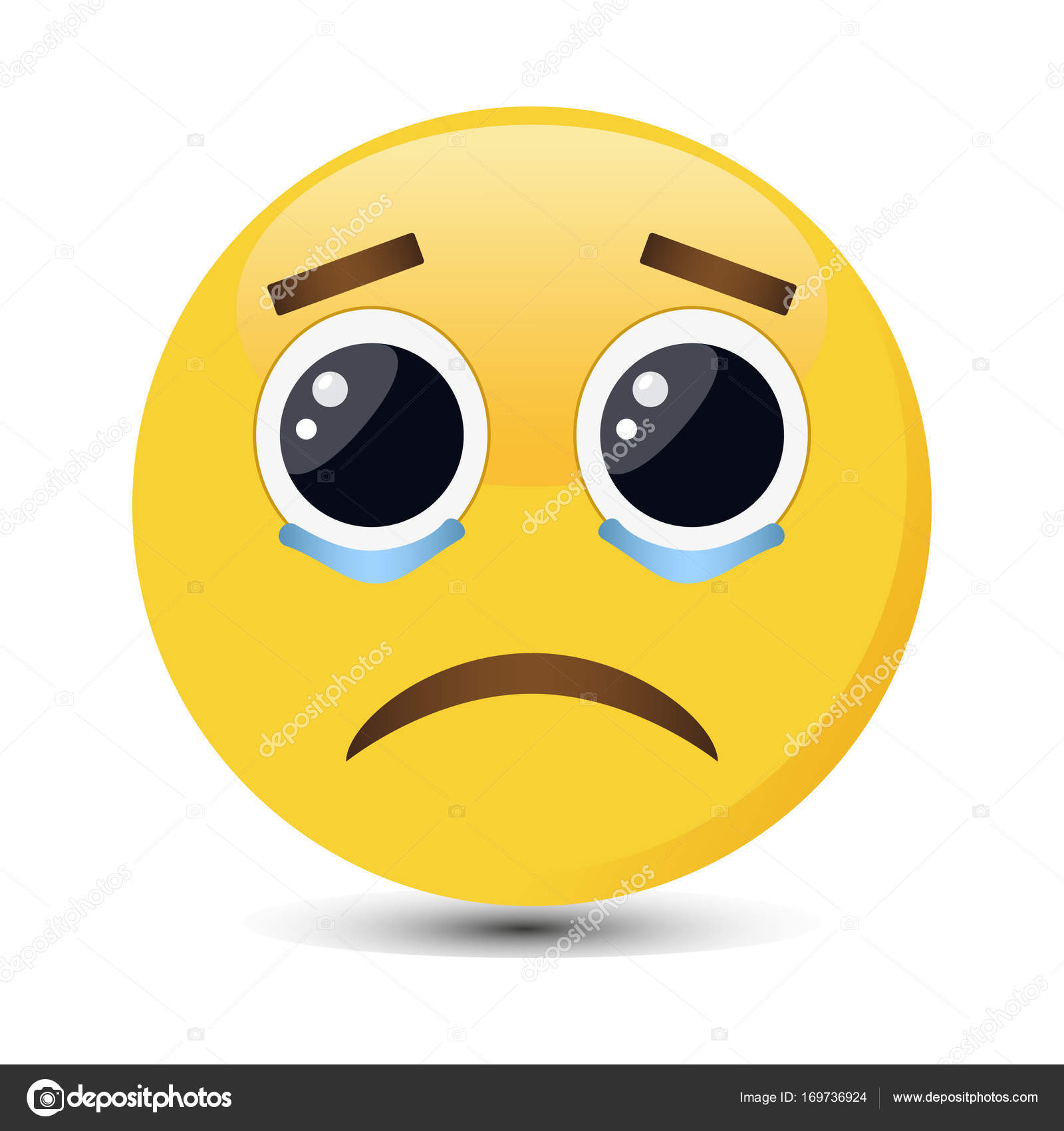 crying emoticon with big eyes and tears in trendy flat style sad