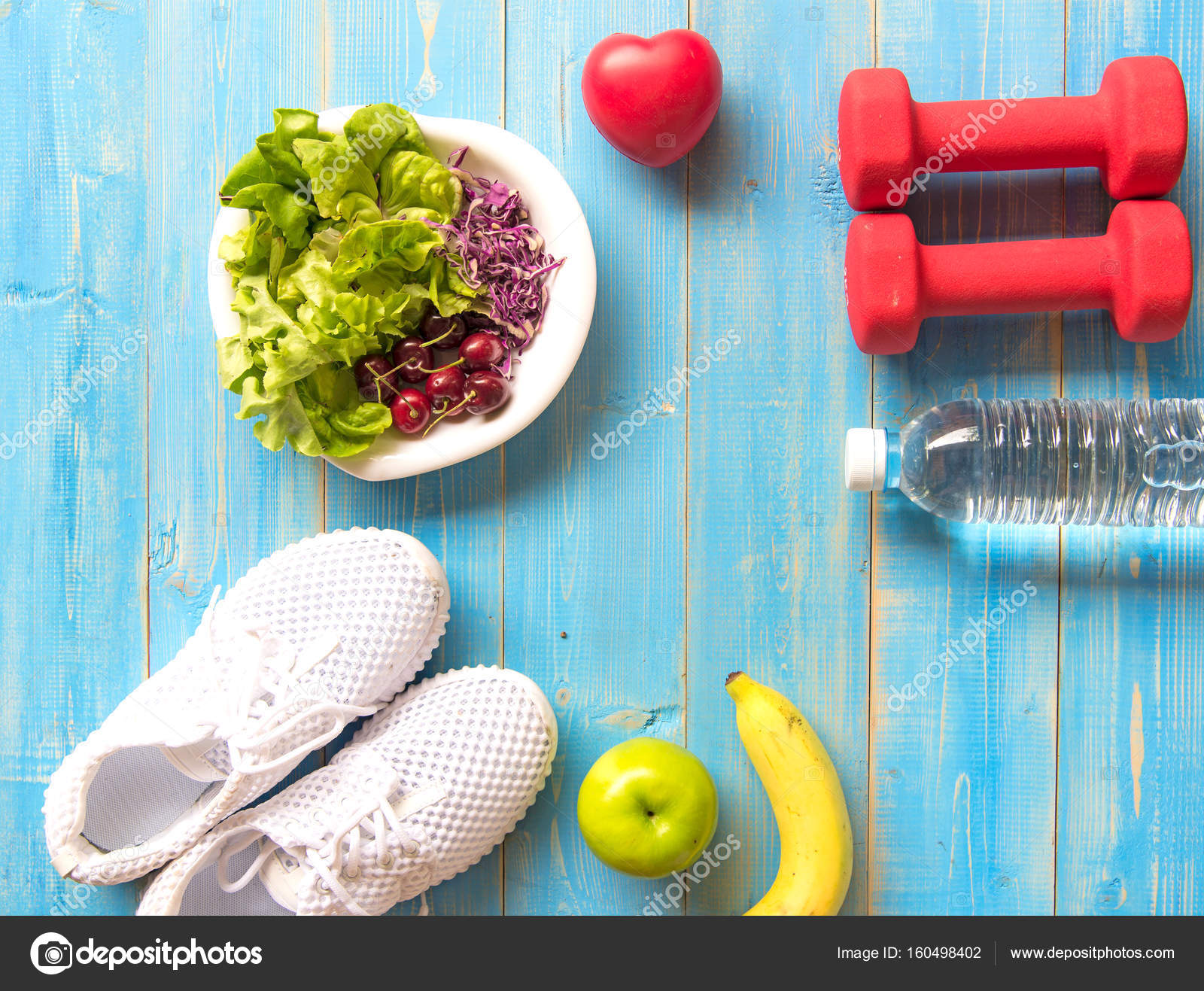 Healthy Lifestyle Sport Equipment Fitness Sneakers Green Apple Fresh Water And Healthy Food On Blue Wood Background Healthy Concept Stock Photo C Freebird7977 160498402