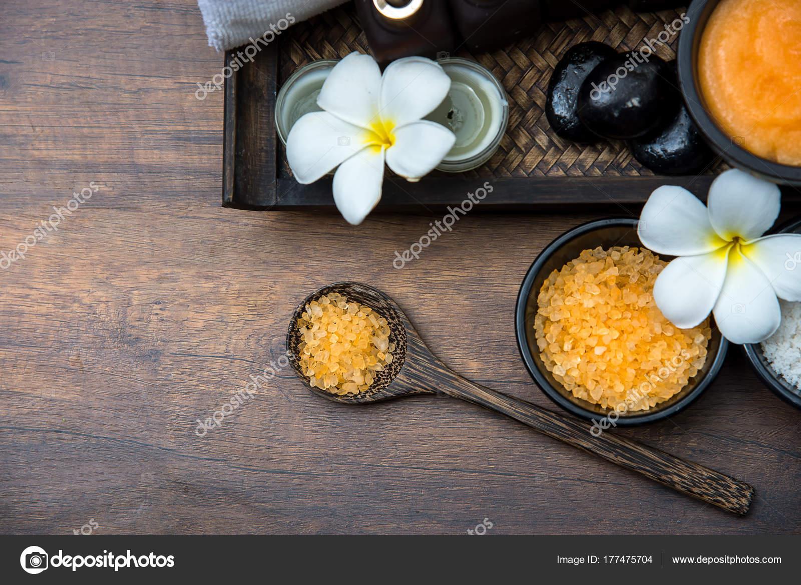 Spa Thai Einstellung Für Aromatherapie Und Zucker Und Salz Massage ...